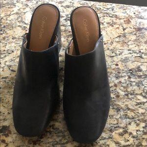 "Calvin Klein brand new heeled mules 4"" size 9"